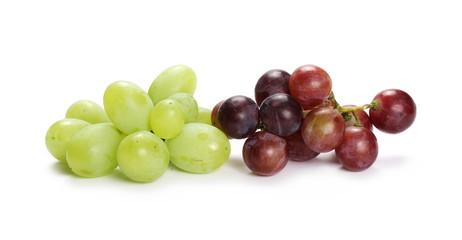 Dark and white grapes isolated on white background