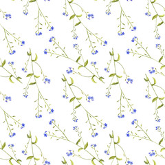 Seamless pattern with flowers of forget-me-nots