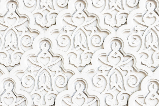 Arabian Muslim Islamic white oriental national pattern with relief elements. Textured white wall, mosque decor element.