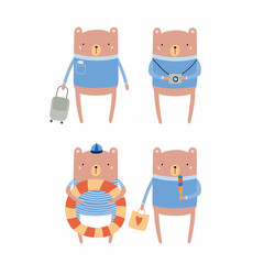 Hand drawn vector illustration of cute funny bear on summer holidays. Isolated objects. Scandinavian style flat design. Concept for children print.