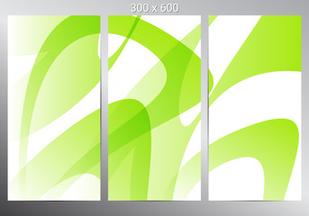 Set of three banners. Green abstract background. Vector illustration Wall mural
