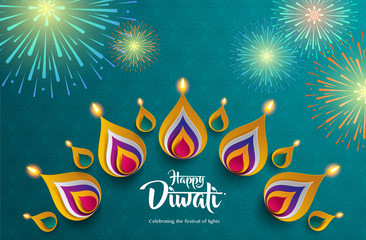 Happy Diwali. Celebrating the festival of lights. Background with the paper graphic of Indian Rangoli and fireworks.