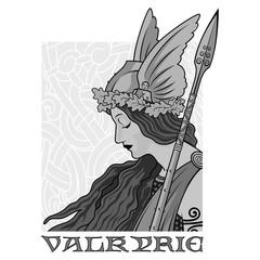 Valkyrie, illustration to Scandinavian mythology, drawn in Art Nouveau style