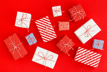 Gift boxes on red background.