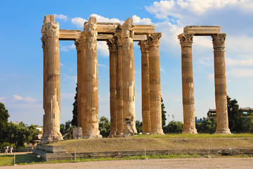 The Temple of Olympian Zeus or the Olympieion is a monument of Greece and a former colossal temple in the centre of the Greek capital city Athens.
