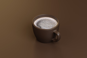 a cup of strong coffee on a brown background