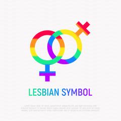 Lesbian symbol in rainbow color. Modern vector illustration.