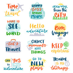 Travel lettering vector adventure calligraphy text or traveling quote sign for poster typography illustration set of vacation or tourism typographic print isolated on white background