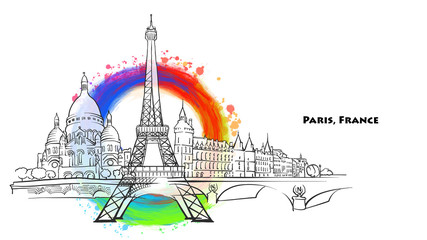 Paris landmarks with colored background