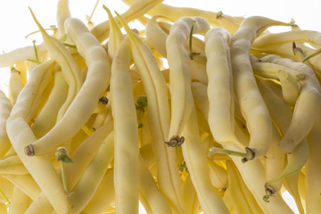 Wall Mural - Fresh raw beans on a white background
