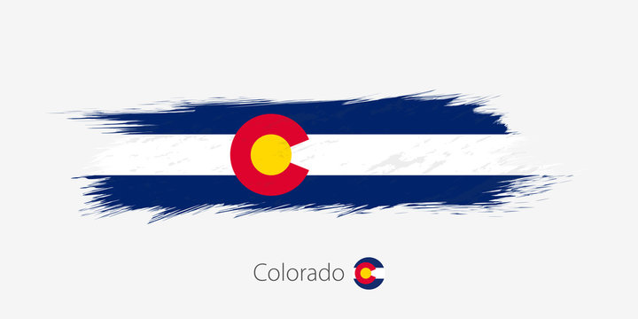 Flag of Colorado US State, grunge abstract brush stroke on gray background.