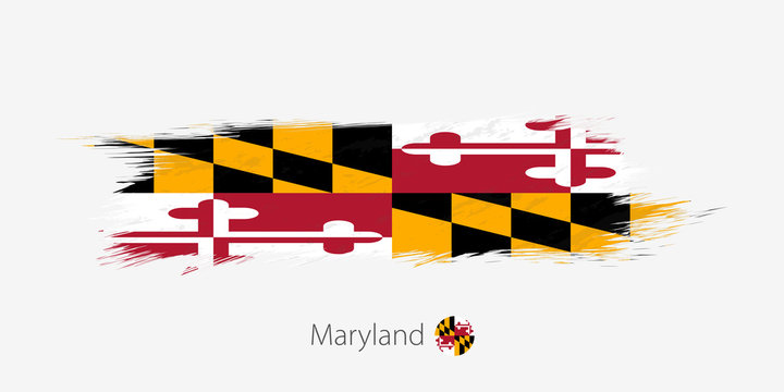 Flag of Maryland US State, grunge abstract brush stroke on gray background.