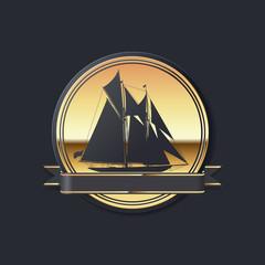 Goldenes maritimes Vektor Piktogramm mit Zweimast Schoner
