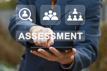 Assessment button analysis evaluation measure business analytics web technology concept.