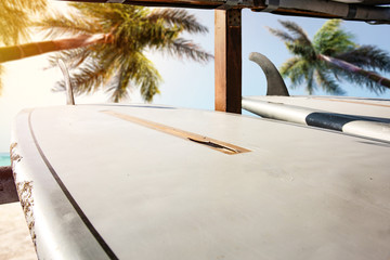 Table background of free space for your decoration and beach landscape with palms