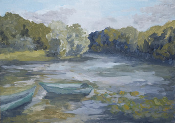 summer landscape with boats on the lake with oil paints