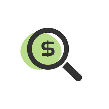 Magnifying glass looking for dollars isolated web icon