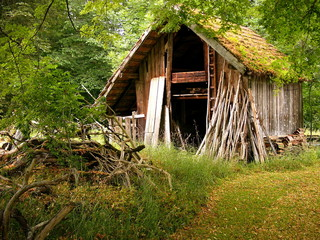 Idyllisch am Waldrand gelegener Holzschuppen eines alten Bauernhof in Rudersau bei Rottenbuch in Oberbayern im Sommer