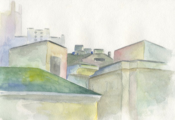 roofs of houses, painted in watercolor, illustration