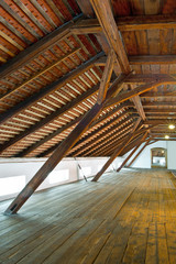 Rafters of hop store house in Zatec town. Czech Republic.