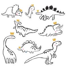 Hand drawing dinosaur illustration vector.