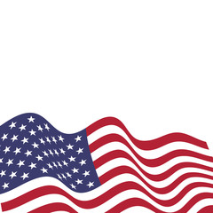 United States of America national flag in the wind. Vector illustration.