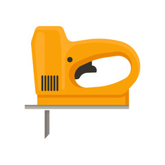Orange electric jigsaw. Hand tool with fine sharp blade for woodwork. Flat vector for promo poster of hardware store