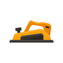 Flat vector icon of orange jack plane. Electric tool using for woodworks. Building equipment. Element for advertising poster or banner