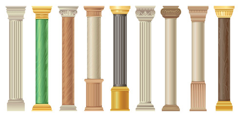 Antique columns and pilars set, classic stone columns in different styles vector Illustrations on a white background Fototapete