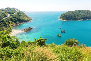 View on Yanui beach from mountains at Rawai area on Phuket island