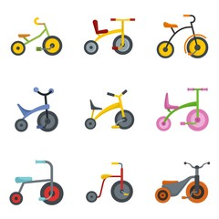 Tricycle bicycle bike wheel icons set. Flat illustration of 9 tricycle bicycle bike wheel vector icons isolated on white