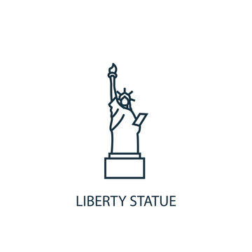Liberty statue concept line icon. Simple element illustration