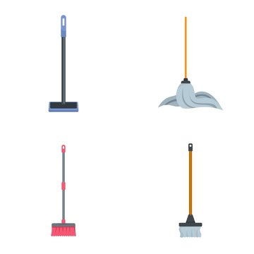Mop cleaning swab icons set. Flat illustration of 4 mop cleaning swab vector icons isolated on white