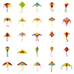 Kite flying festival surf icons set. Flat illustration of 25 kite flying festival surf vector icons isolated on white