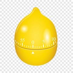 Lemon timer mockup. Realistic illustration of lemon timer vector mockup for on transparent background