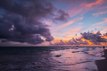 Coastal landscape with purple clouds