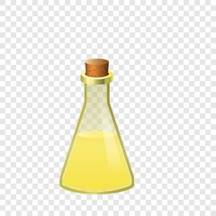 Yellow flask icon. Cartoon of yellow flask vector icon for on transparent background