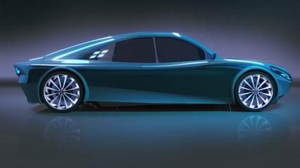 blue modern speed car side study