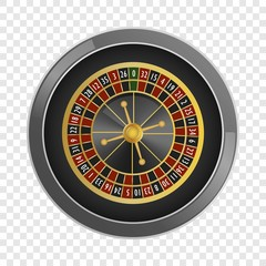 Top view roulette casino mockup. Realistic illustration of top view roulette casino vector mockup for on transparent background
