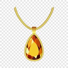 Yellow topaz jewelry icon. Realistic illustration of yellow topaz jewelry vector icon for on transparent background