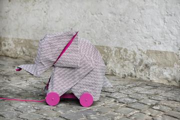 Origami elephant on rolls