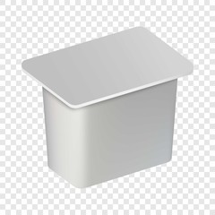 Traditional yogurt box mockup. Realistic illustration of traditional yogurt box vector mockup for on transparent background
