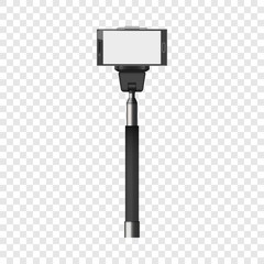 Selfie stick mockup. Realistic illustration of selfie stick vector mockup for on transparent background