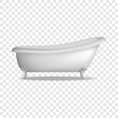 Vintage bathtub mockup. Realistic illustration of vintage bathtub vector mockup for on transparent background