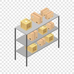 Delivery box shelf icon. Isometric of delivery box shelf vector icon for on transparent background