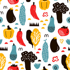 vector seamless background patterns in Scandinavian style,cartoon cute vegetables  and elements for fabric design, wrapping paper, notebooks covers