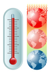 symbolic vector illustration of the global warming and climate change with a thermometer and the planet Earth moving towards hotter and hotter temperatures