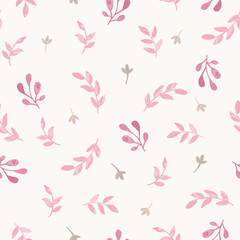Watercolor seamless pattern with branches, leaves and flowers. Vector hand drawn spring background in shades of pink. Feminine print design.