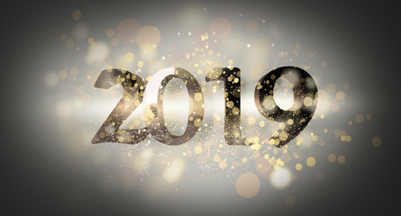 New Year 2019. New Year's poster, background with a volume inscription. 3d rendering. Dark bokeh background, magic dust, light effect, rays