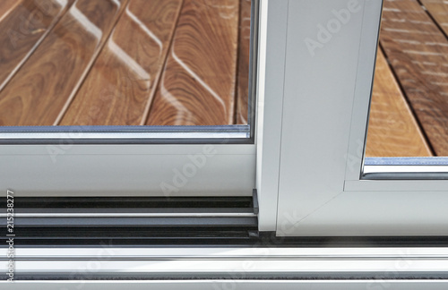 Sliding Glass Door Detail And Rail Embed In Floor Stock Photo And